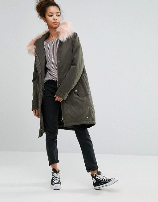 Pull&Bear Longline Parka with Faux Fur Hood | Fashion | Pinterest ...