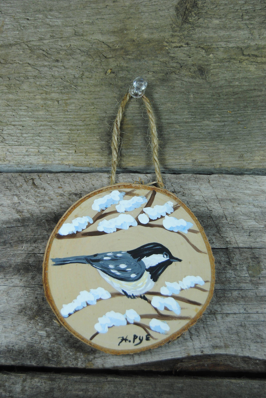 Chickadee Wood Slice original painting wall decoration tree ornament