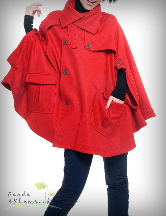 The touch of wind/wool coat/loose/red/plus/jacket. $85.00, via Etsy.... Love this!! Has anyone ordered anything from China via Etsy? How did it go?