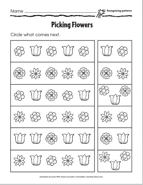 Lesson Six Pictoral Patterns Pattern Worksheets For