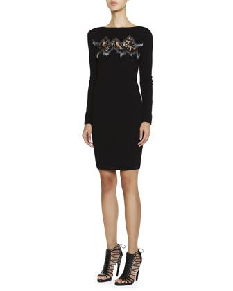 Long-Sleeve Dress with Zigzag Lace Inset by Emilio Pucci at Bergdorf Goodman.