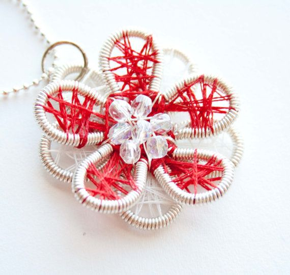 Red and White Threaded Silver Wire Flower by HopeFilledJewelry