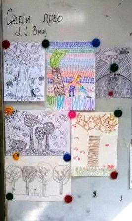 На часовима ликовне културе проширили смо знања о врстама линија и цртачким материјалима. Поделили смо се у групе ( оловка, фломастер, дрвена боја, угљен, туш), свака група добила је 5 – 6 ра…