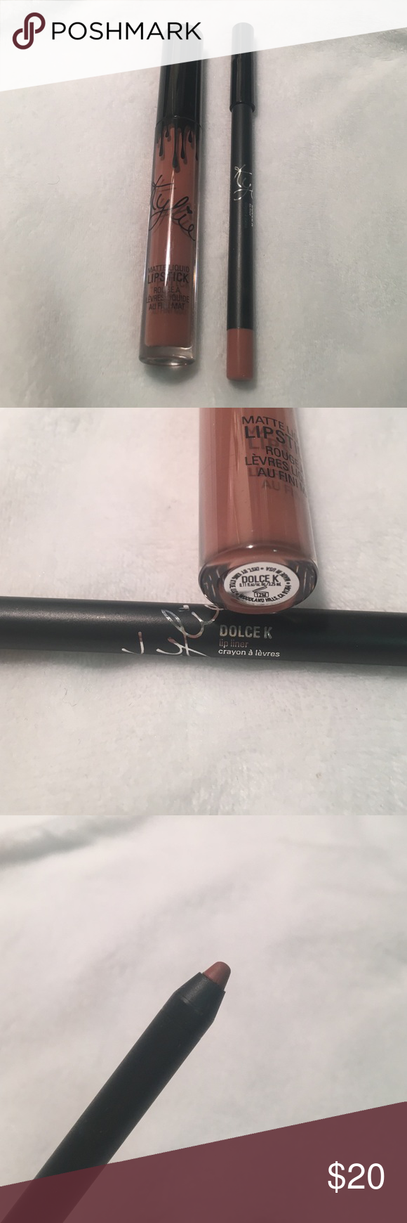 Kylie cosmetics Dolce K Authentic Kylie cosmetics Dolce K lip liner and liquid lipstick. Swatched on arm but never used on lips (shown in third picture) Kylie Cosmetics Makeup Lipstick