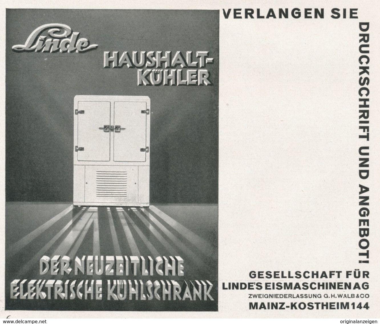 Original Werbung Anzeige 1930 Linde Kuhlschrank Ca 140 X 115