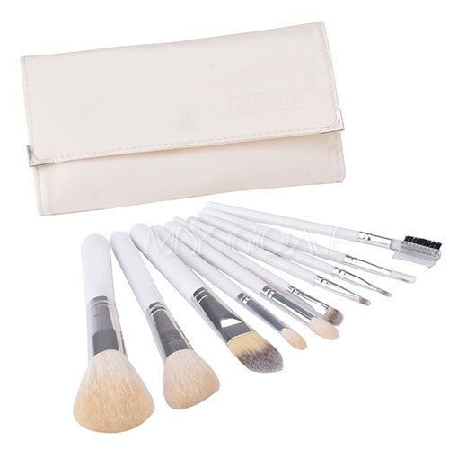 White 10pcs Pro Makeup Brushes Foundation Cosmetic Powder Blusher Brush Bag Set