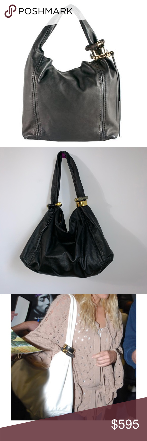 """57e307333bb Authentic Jimmy Choo Saba hobo leather bag black Jimmy Choo bag Excellent  condition Measures 20""""x13"""" drop 13"""" Jimmy Choo Bags Hobos"""