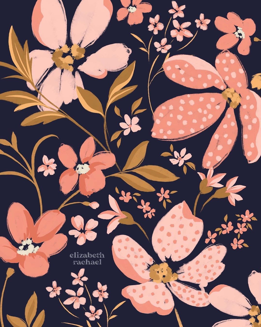 """Liz✨Print   Pattern   Textiles on Instagram: """"Happy Friday everyone! ✨ This started off as a little doodle, but now I'm kind of into it as an oversized floral? Or maybe I'm just really…"""""""