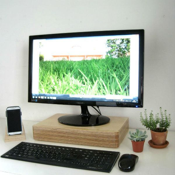 Plants And Pacco Monitor Stand Drawer On A Minimalist Desk