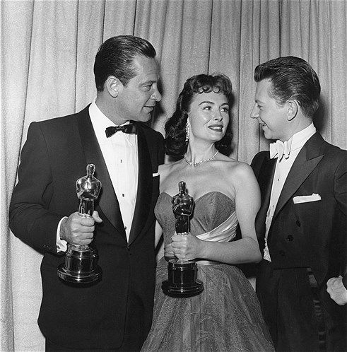 "1954: William Holden, winner of Best Actor for ''Stalag 17,"" Donna Reed, winner of Best Supporting Actress for ''From Here to Eternity'' and co-host Donald O'Connor during the 26th Annual Academy Awards held at the RKO Pantages Theatre in Los Angeles on March 25, 1954."