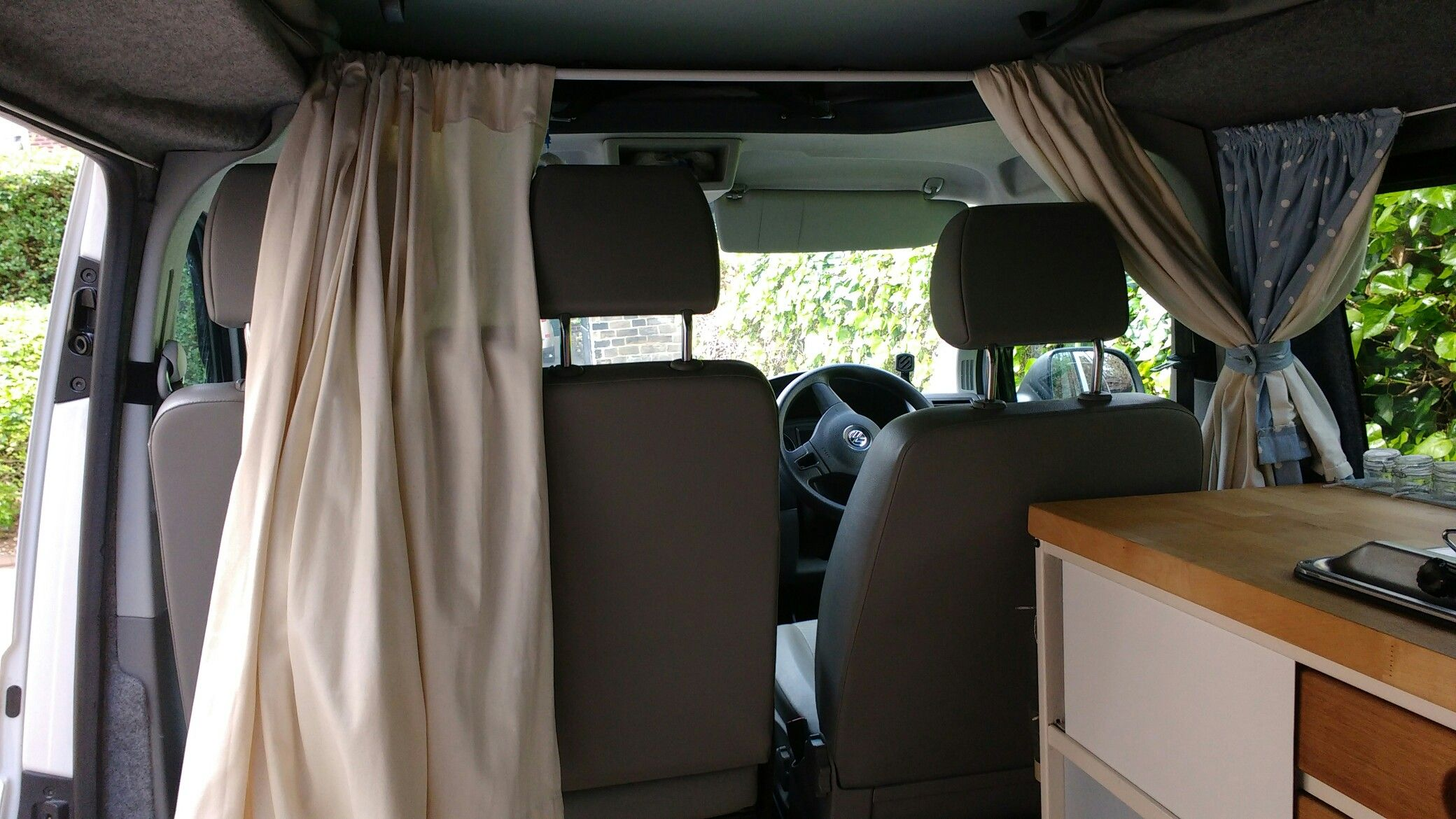 Cab Curtains Using Tension Rod Transit Connect Camper Ford