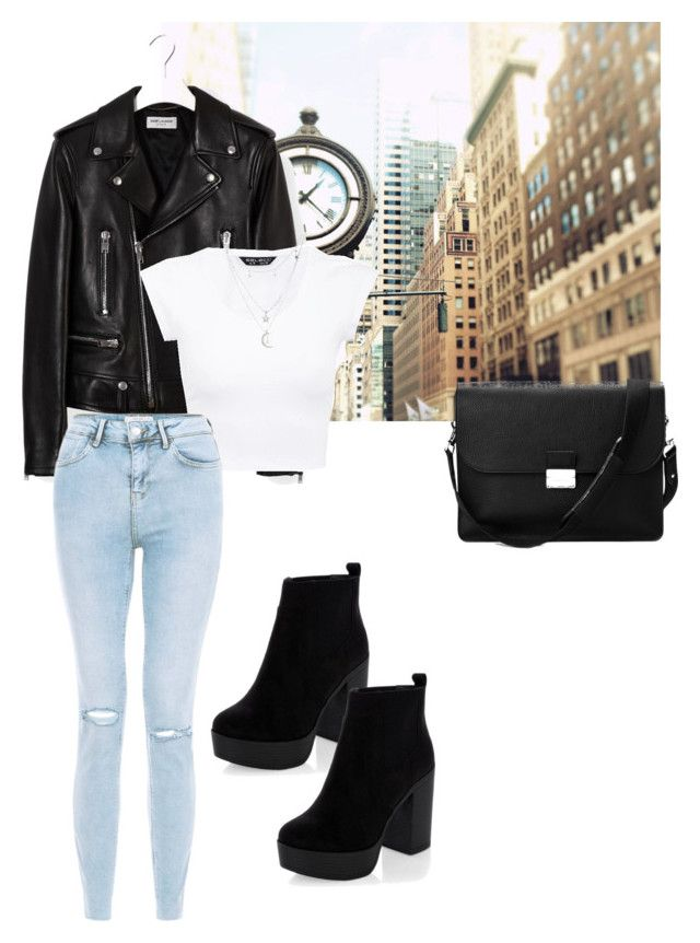 """Day Look 158 New York City Basic Girl Style Outfit Spring"" by fashion-by-katrine on Polyvore featuring Yves Saint Laurent, Charlotte Russe and Aspinal of London"