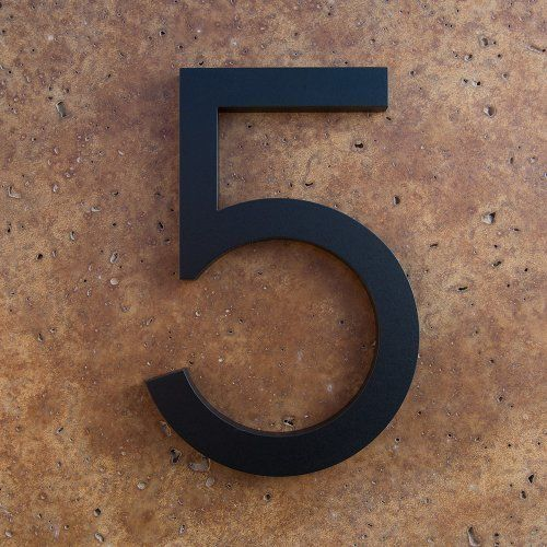 Modern House Number Black Color Aluminum Font Five 5 6 Inch By Moderndwellnumbers 38 99 Numbers