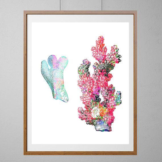 Sea Coral Watercolor Print, Sea life art corals collection poster ...