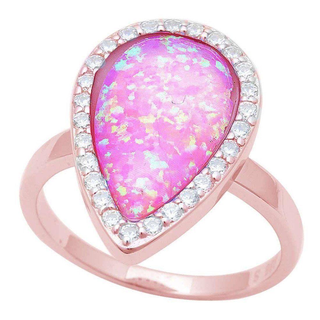 Halo Teardrop Ring Pear Created Pink Opal Blue Opal White Opal Round ...