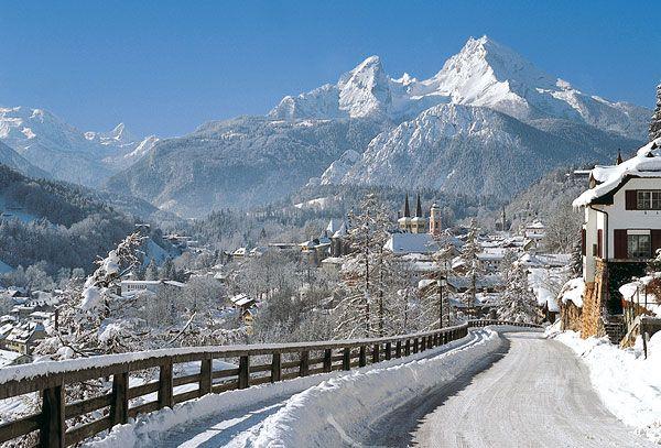 Snow scene in Berchtesgaden, Germany with Watzmann mountain in background.