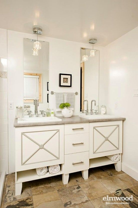 Double Vanity In Neutral Bath  Elmwood Fine Custom Cabinetry
