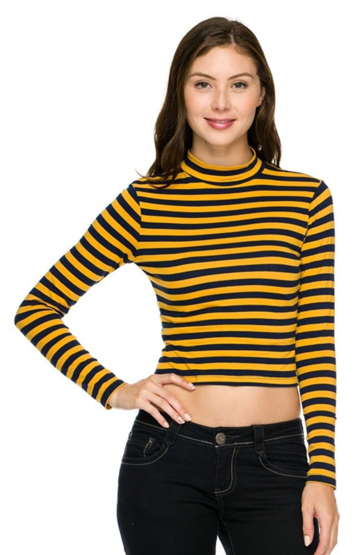 6b049b5cbc18f0 Long Sleeve Mock Turtleneck Crop Top Trendy Outfits