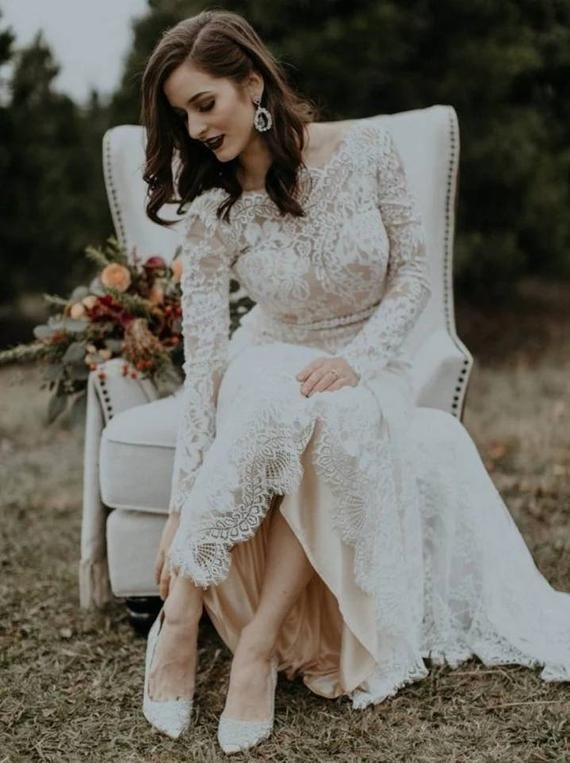 Vestido de novia bohemio sexy con escote redondo y encaje largo |  Etsy  – Boda