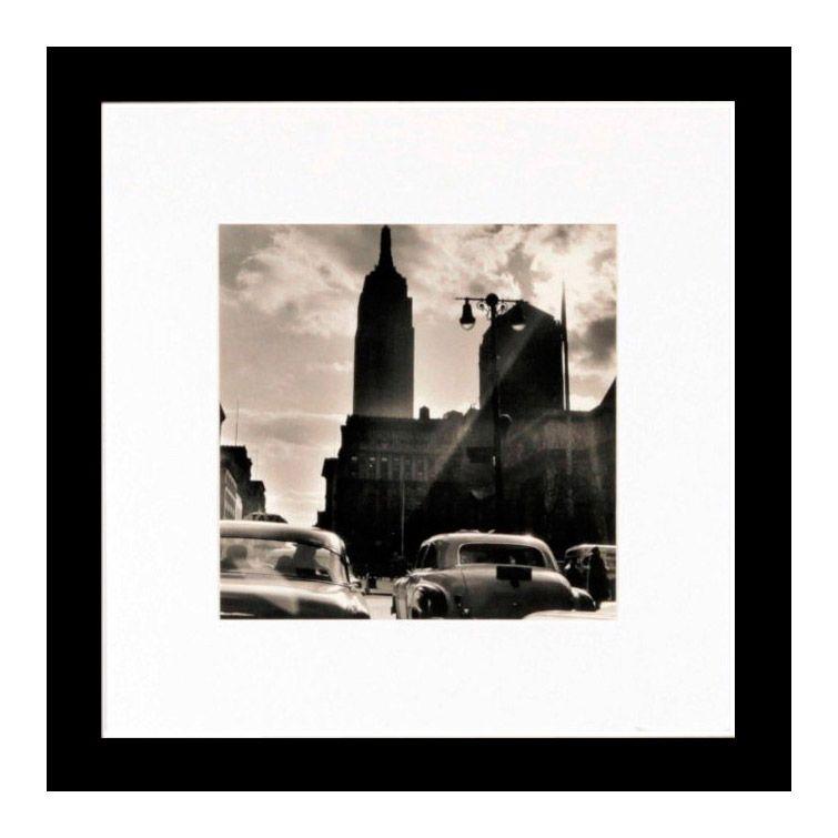 photo d'art new york en noir et blanc avec cadre bois mdf et verre
