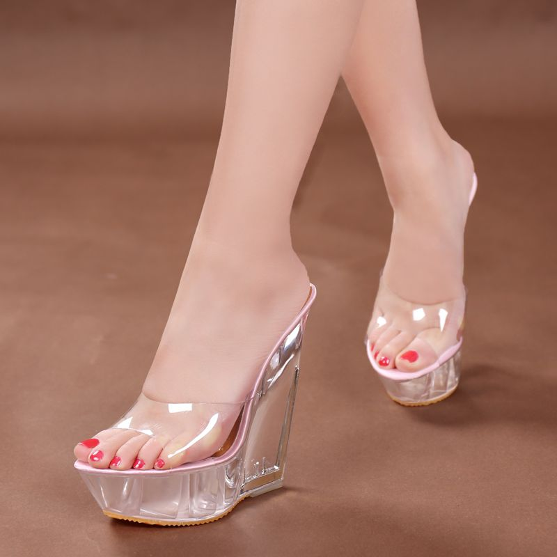 200a72b98d01 Summer Fashion High Heels Sandals Slippers Mules Transparent Crystal  Platform Wedges Shoes 15CM Jelly Sandals zapatos mujer -in Women s Sandals  from Shoes ...