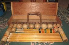 Vintage Antique Croquet Set In Original Wood Box Cincinnati Oh