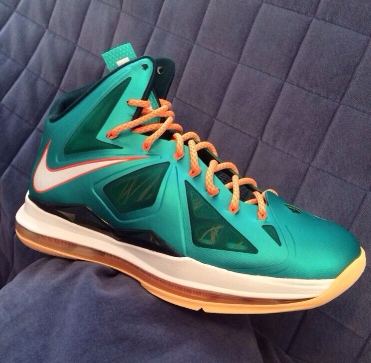 more photos a5e80 5e1c1 NEW NIKE LEBRON X 10 SIZE 9 SZ GREEN ORANGE MIAMI DOLPHINS JORDAN SHOES KD  VI