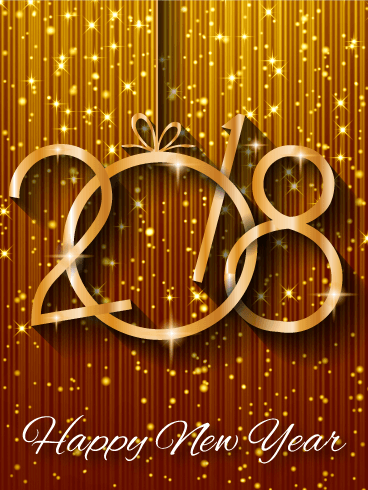 send free shiny gold happy new year card 2018 to loved ones on