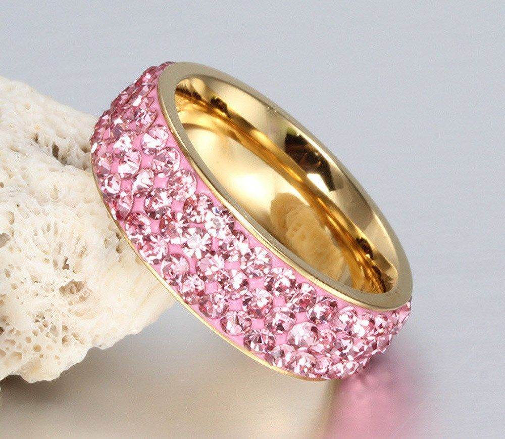 Vintage Wedding Rings for Women Stainless Steel 3 Row Crystal Cubic ...
