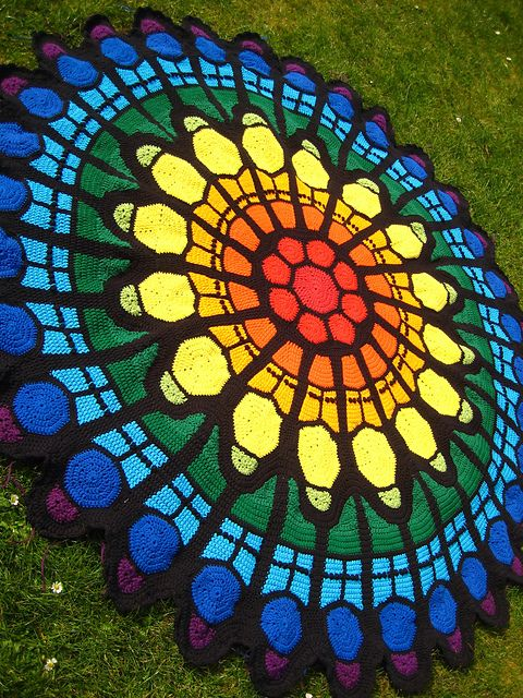 Cathedral Rose Window Afghan Pattern By Julene Watson