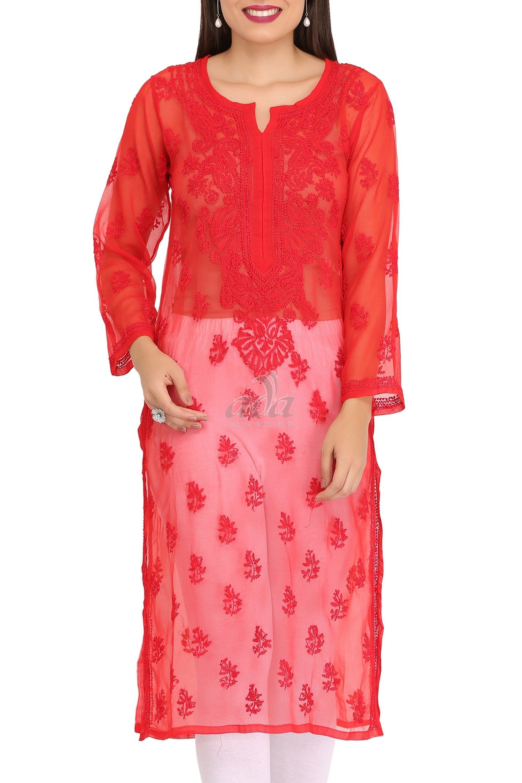 7233e7354 Ada Hand Embroidered Red Faux Georgette Lucknowi Chikankari Kurti-A141508  Price Rs.1