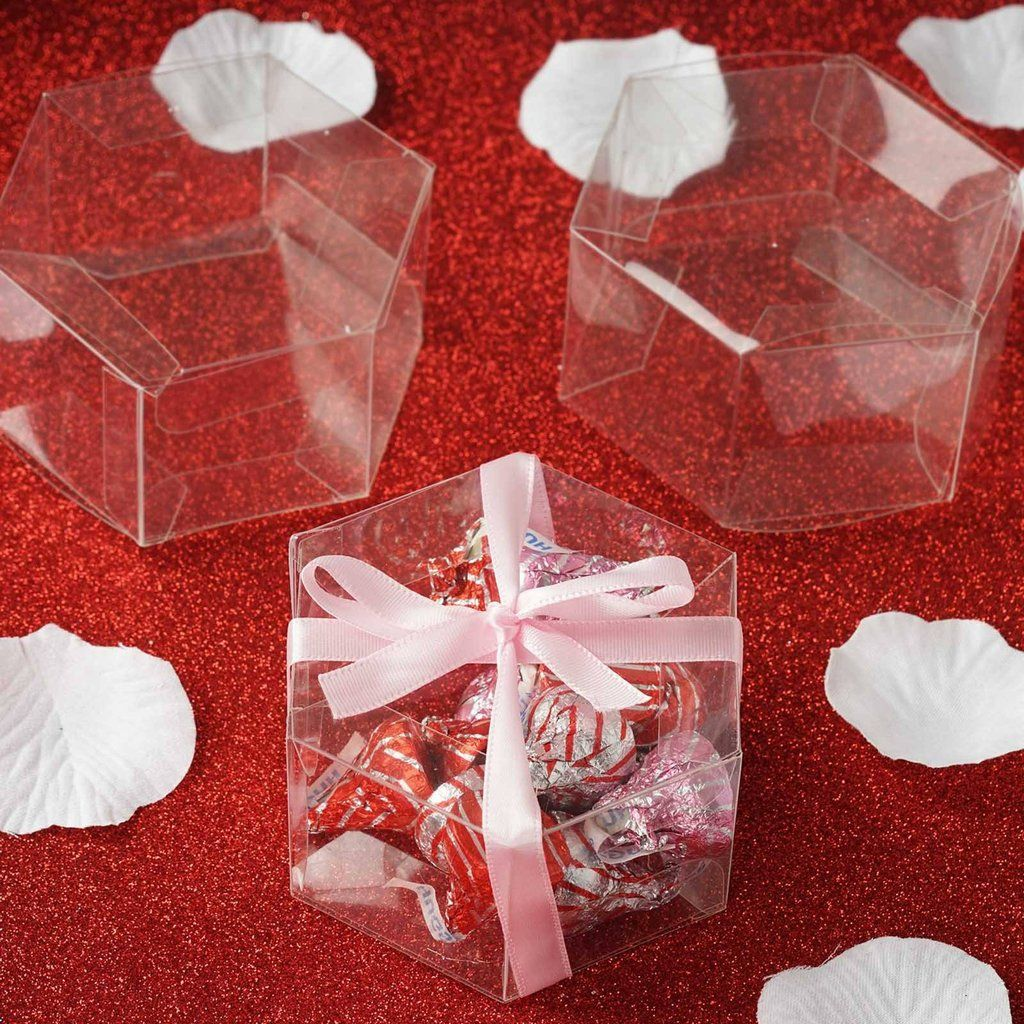 Wedding anniversary decoration ideas at home  Clear Hexagon favor box  Set of   Our uniquely hexagon shaped