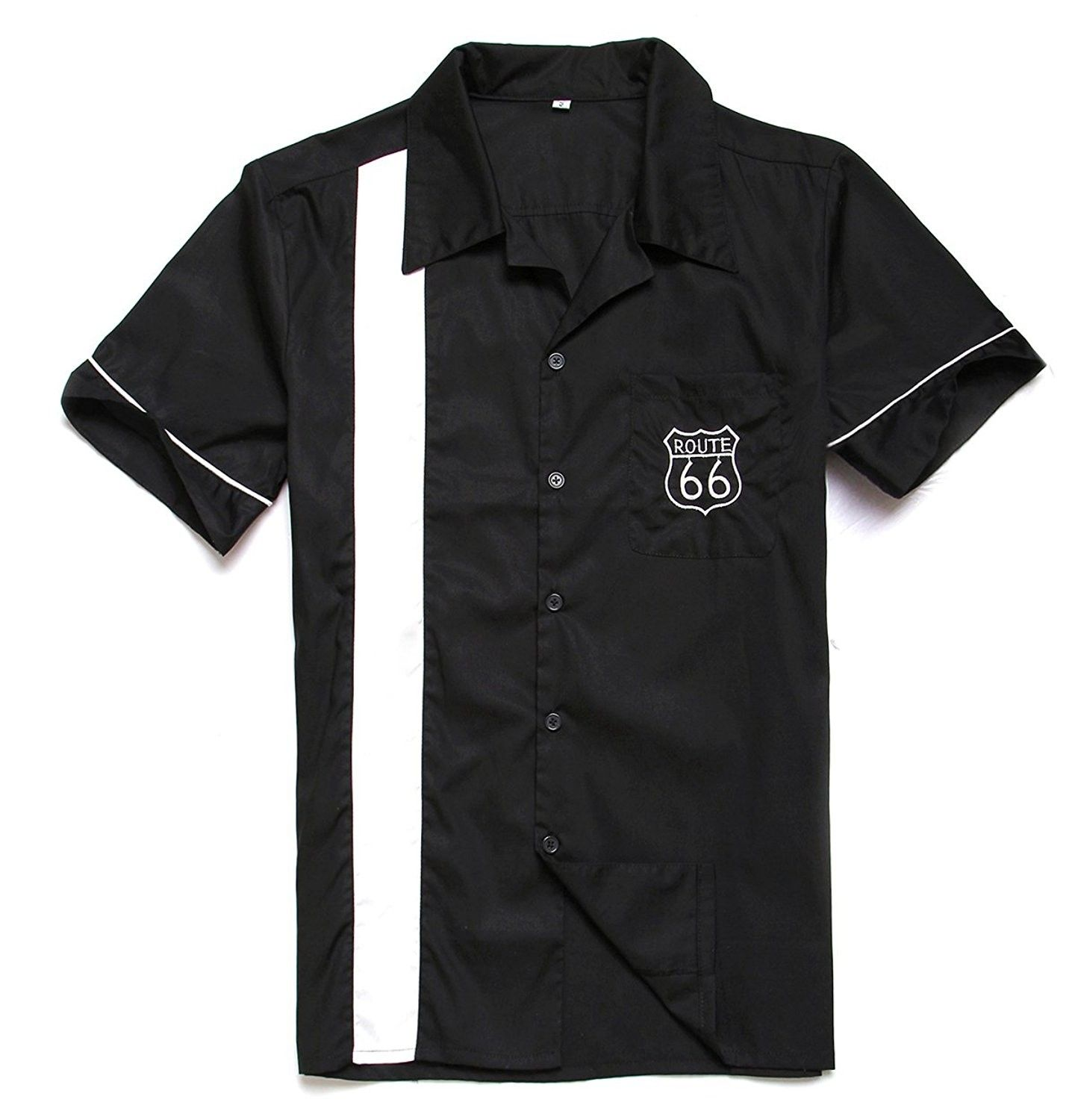 Mens Route 66 Embroidery Embroidered Polo Shirts