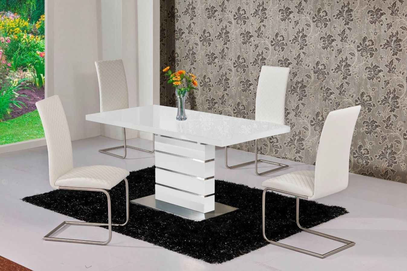 2019 White High Gloss Dining Table 6 Chairs Modern Style Furniture Check More At Http