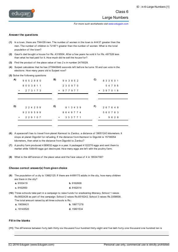 Image Result For Large Numbers Math Grade 6 Math Practice Worksheets Math Practices Math Worksheet
