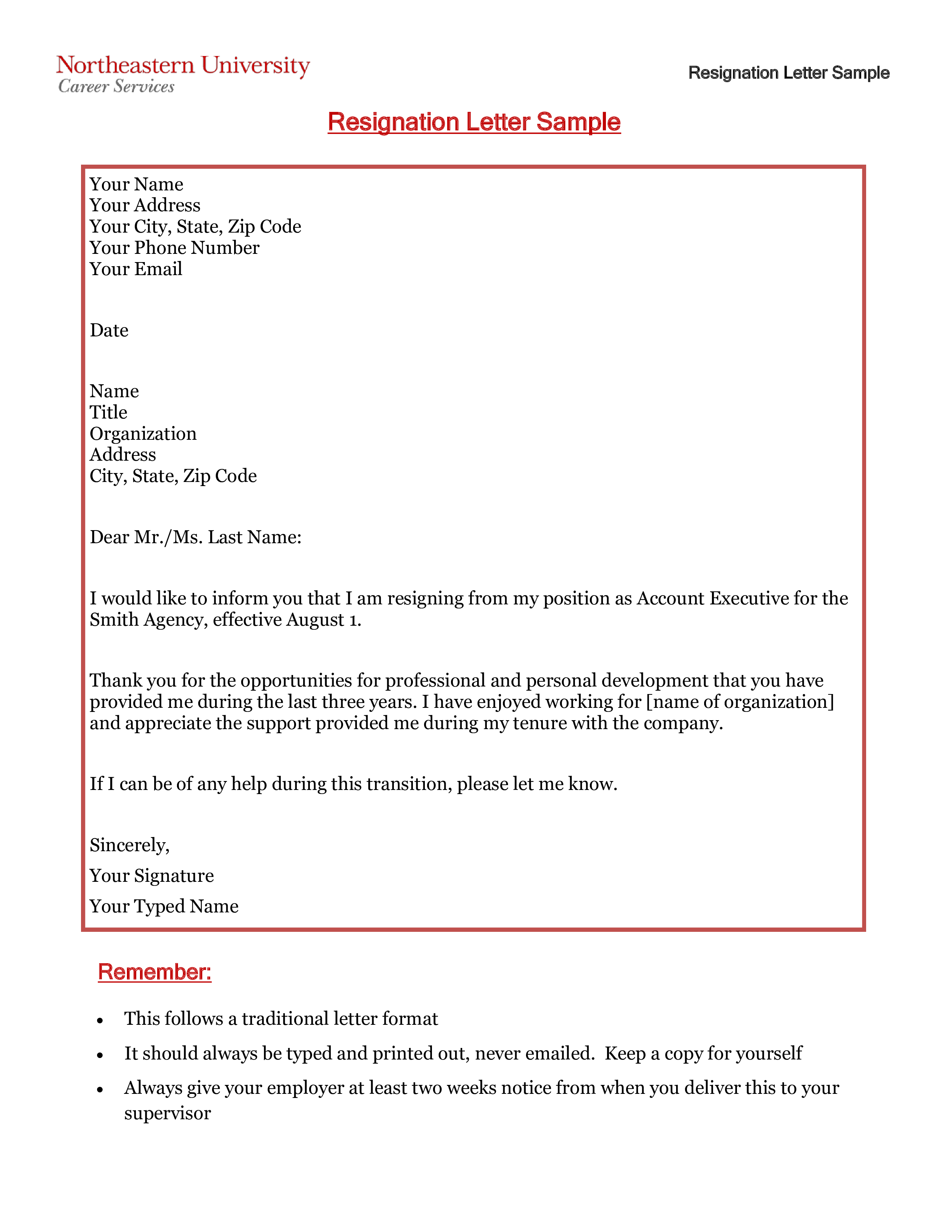 formal resignation letter account executive position  how