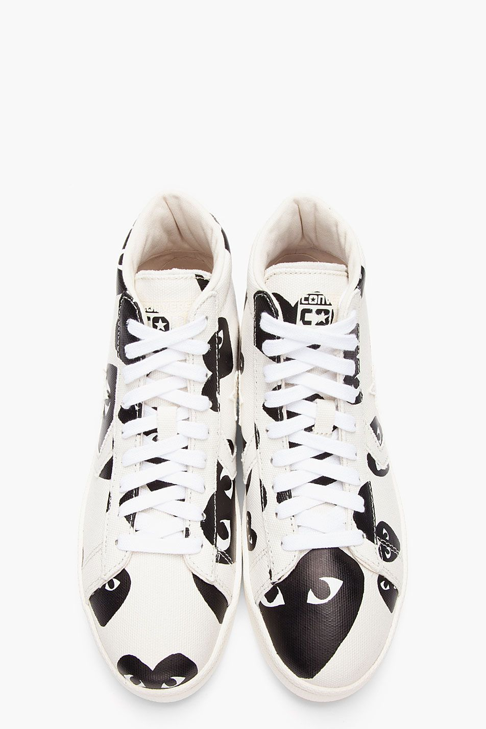 COMME DES GARÇONS PLAY - Ivory Canvas Heart Logo High-Top Converse Pro  Sneakers Low