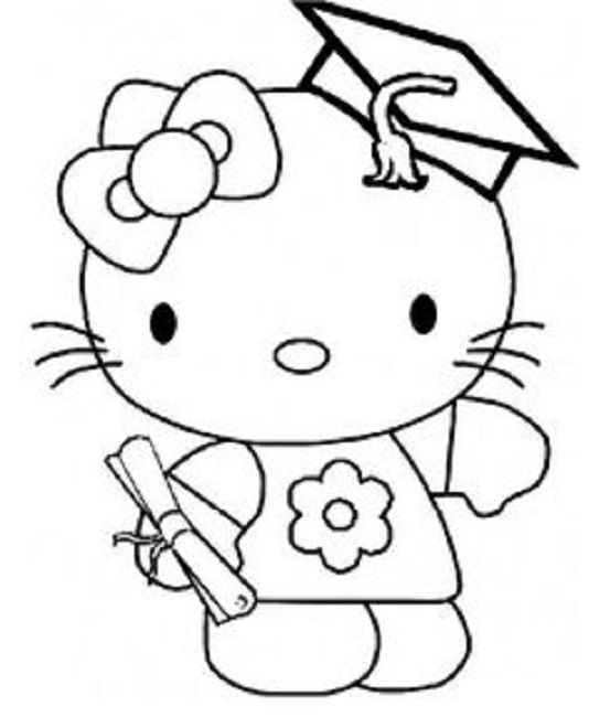 hello kitty graduation coloring pages - Graduation Coloring Pages