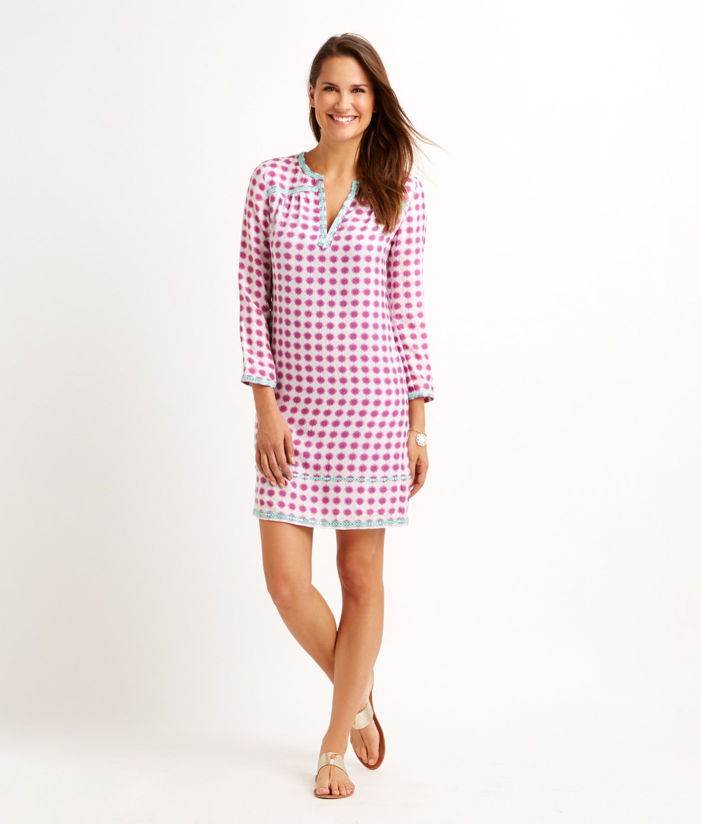 Shop Tie Dye Gingham Embroidered Dress at vineyard vines | Must ...