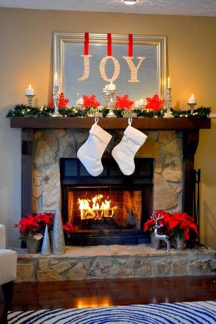 my nearly free christmas mantel decor - Decorating Fireplace Mantels For Christmas Pinterest