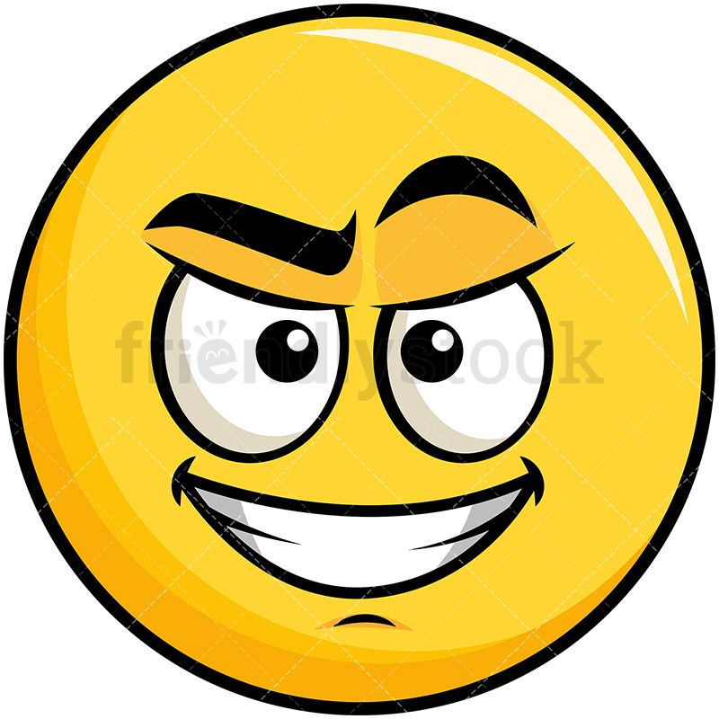 Cunning Evil Face Yellow Smiley Emoji Cartoon Vector Clipart Friendlystock Smiley Emoji Emoticon Emoji Clipart