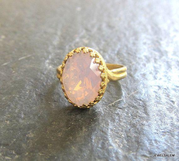 Pink Ring Rose Quartz Gemstone Ring Rustic Quaint by Jewelsalem