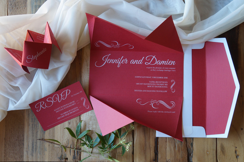 White ink custom origami inspired wedding invitation | Fortune ...
