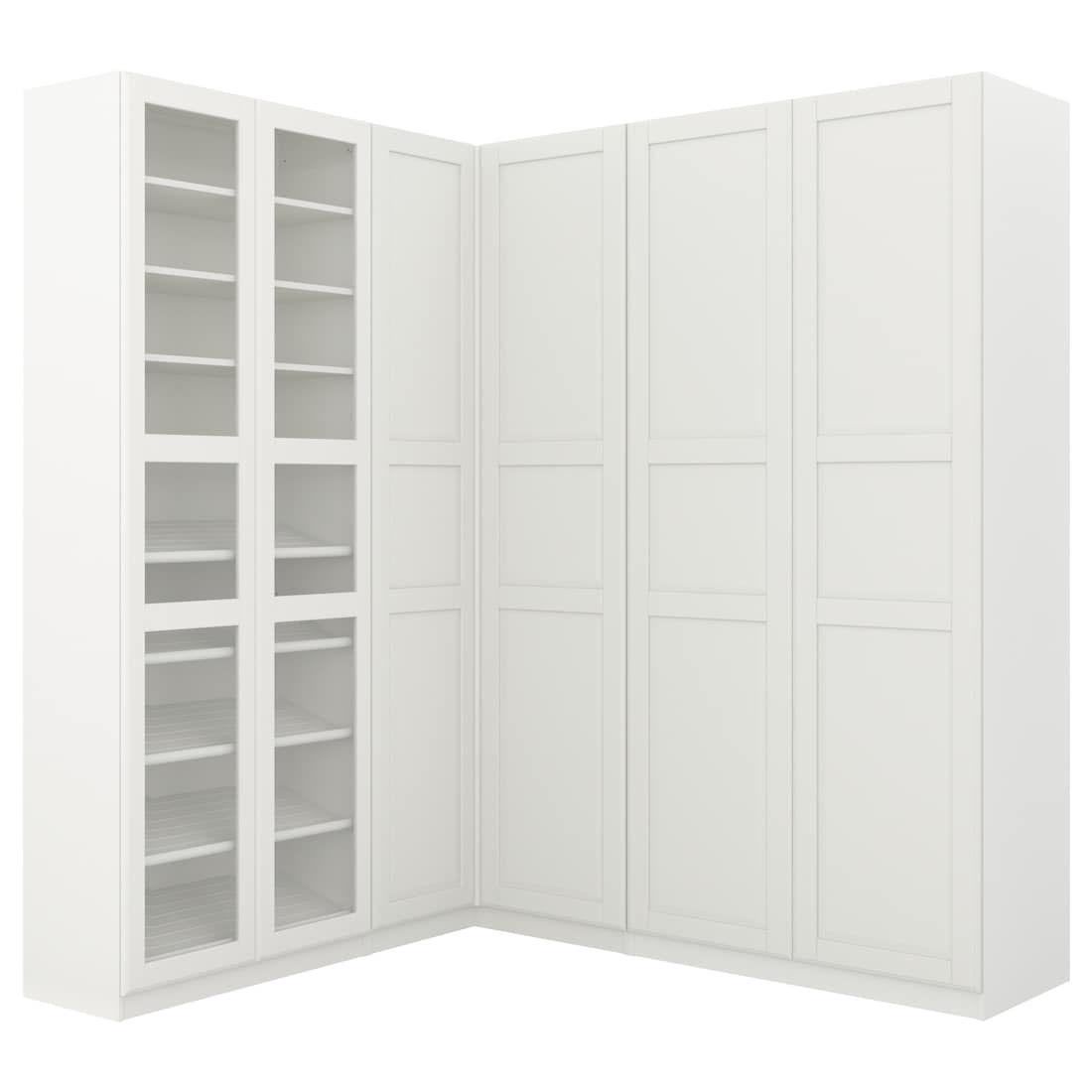 Pax Armoire D Angle Blanc Tyssedal Tyssedal Verre 210 188x236 Cm Armoire D Angle Panneaux Porte Verre Ikea