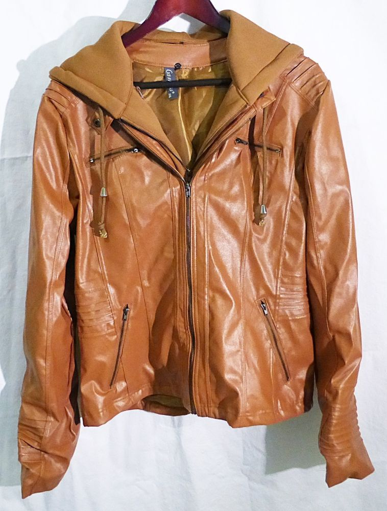 Women gamiss brand brown faux leather jacket with detachable hoodie  NEW #Gamiss #BasicJacket