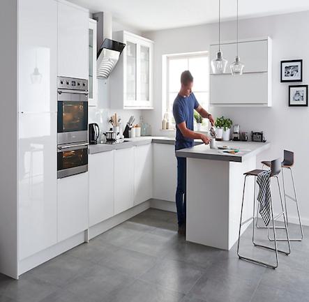 B Q It Santini Gloss White Slab Kitchen Compare Home Independent Price Comparisons