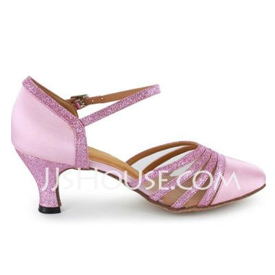 Women's Satin Sparkling Glitter Heels Modern With Ankle Strap Dance Shoes (053021533)