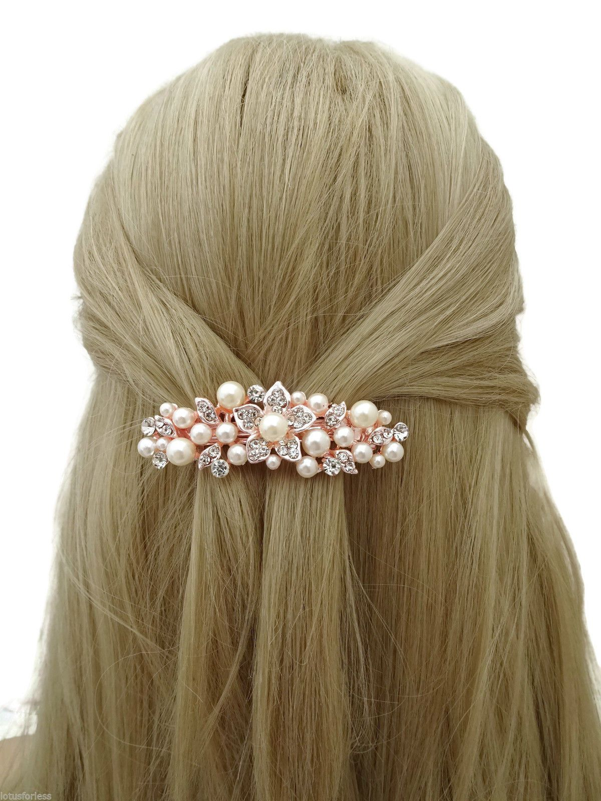 Details about beautiful diamante barrette hair clip grip in rose