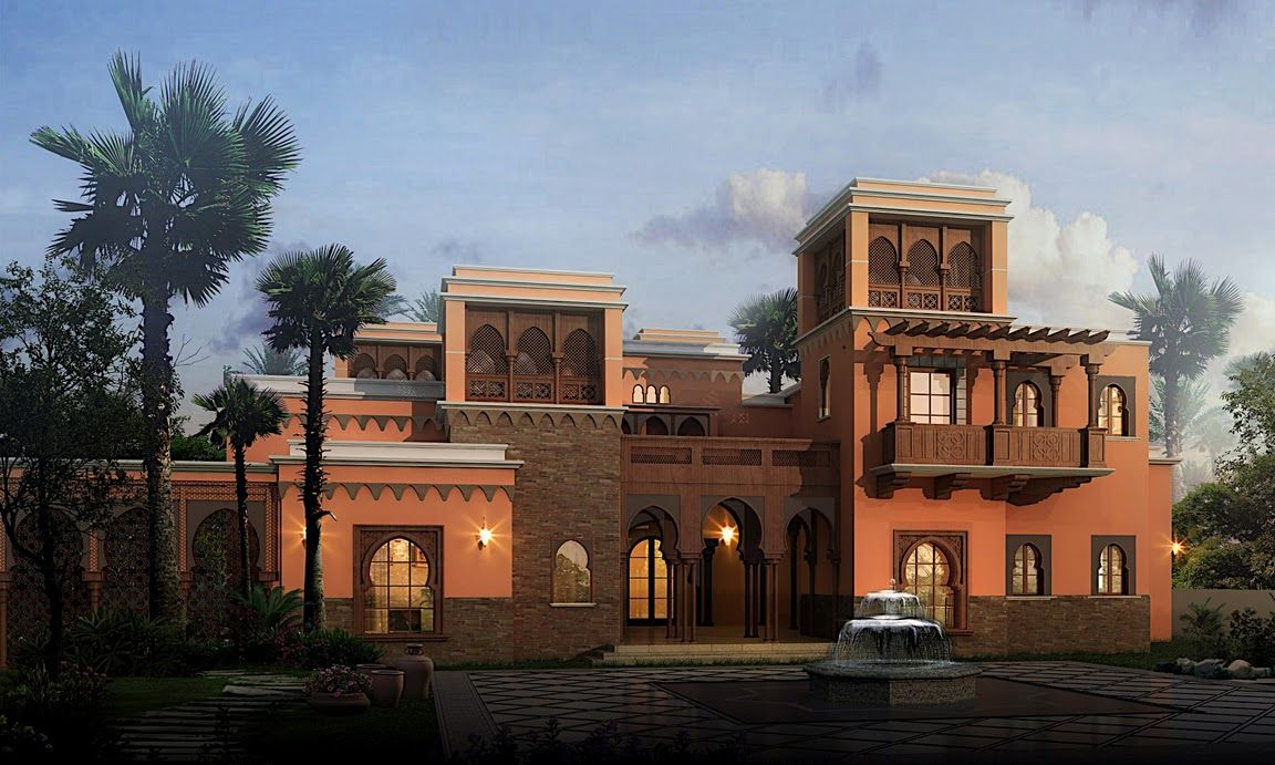 Arabic Style Villa Section 02 By Dheeraj Mohan At Coroflot Com Classic House Design Villa Style Modern House Exterior