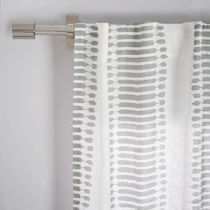 Striped Ikat Curtain Platinum Ikat Curtains Curtains Drapes